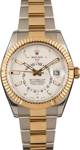 Pre-Owned Rolex Two Tone Sky-Dweller 326933 White Dial