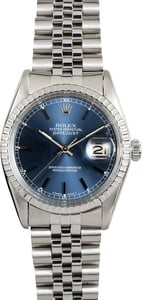 Rolex Stainless Steel Datejust 16030 Blue