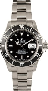 Rolex Stainless Steel Submariner 16610 Black