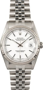 Rolex Steel Datejust 16234 White Dial