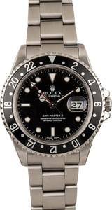 Used Rolex Steel GMT-Master II Ref 16710 Black Bezel