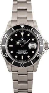 PreOwned Rolex Steel Submariner Black Dial 16800
