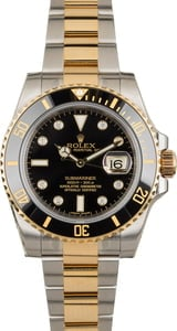 Factory Stickered Rolex Submariner 116613 Black Diamond Dial