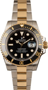 Used Rolex Two Tone Submariner 116613 Black Ceramic Bezel