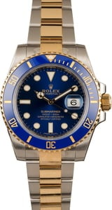 Used Rolex Submariner 116613 Two Tone with Sunburst Blue Dial