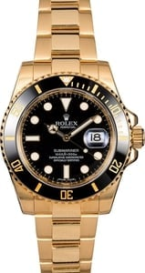 Pre Owned Rolex Submariner 116618 Black Dial Yellow Gold Oyster