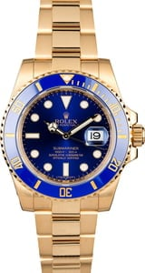 Rolex 18K Gold Submariner 116618 Blue Dial