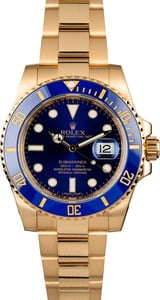 Rolex Gold Submariner 116618 Blue Dial
