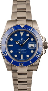 PreOwned Rolex Submariner 116619 White Gold Ceramic Blue Bezel T