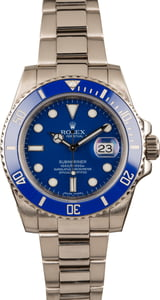 Rolex White Gold Submariner 116619 Ceramic Blue Bezel T