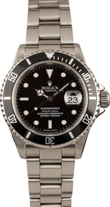 Pre Owned 16610 Rolex Submariner Black Steel Bezel