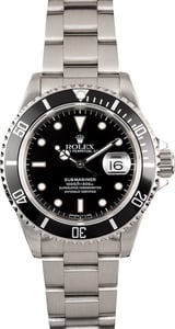 Rolex Black 16610 Submariner Stainless Steel