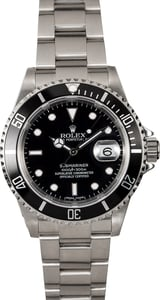 Certified Pre-Owned Rolex Submariner 16610 Black Dial