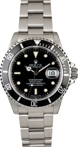 Rolex Black Submariner 16610 PreOwned Men's Watch