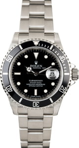 Men's Rolex Submariner 16610 Serial Engraved