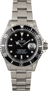 Used Rolex Submariner 16610 Black Dial Diving Watch