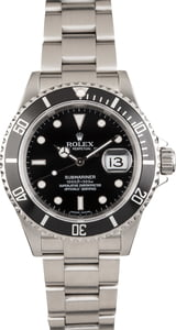 Pre-Owned Rolex Submariner 16610 Stainless Steel with Black Dial