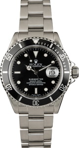 Used Rolex 16610 Black Submariner Stainless Steel