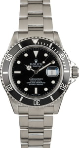 Pre Owned Rolex Submariner 16610 Black Dial and Bezel