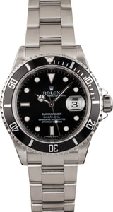 PreOwned Steel Rolex 40MM Submariner 16610 No Holes Case