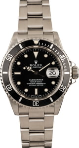 Used Rolex Steel Submariner 16610 Black Dial