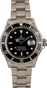 Men's Rolex Submariner 16610 Black Dial No Holes Case