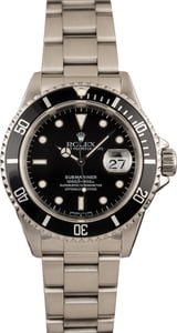 Used Stainless Steel Black Rolex Submariner 16610