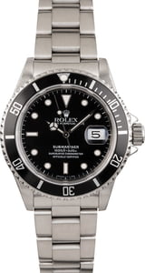 Pre Owned Black Rolex Submariner 16610 Steel