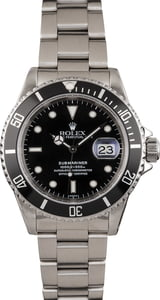 Pre Owned Black Timing Bezel Rolex Submariner 16610