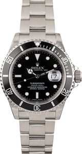 Pre Owned Black Steel Bezel Rolex Submariner 16610