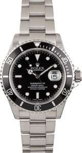 Used Stainless Steel Rolex Submariner 16610 Black Bezel