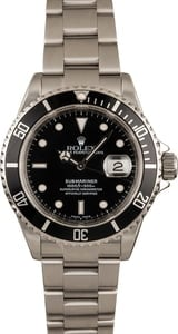 Pre-Owned Rolex Submariner Black Dial 16610 Stainless Steel