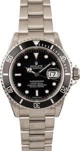 Pre Owned Rolex Submariner 16610T Black Steel Dial