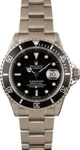 Pre-Owned Rolex Submariner Black 16610T No Holes Case