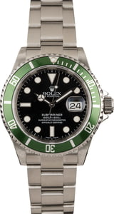 "Pre Owned Rolex Submariner 16610V ""Kermit"" Green Bezel"