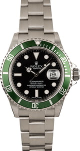 "Pre-owned Rolex Submariner 16610V ""Kermit"" Green Anniversary Bezel"