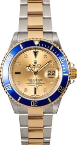 Rolex Submariner 16613 Champagne Serti with Blue Bezel