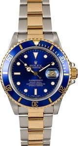 Blue Dial Rolex Submariner 16613 Two Tone Men's Watch