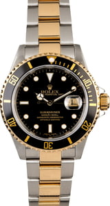 Men's Rolex Submariner 16613 Gold Thru Clasp
