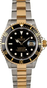 PreOwned Rolex Submariner 16613 Gold Thru Clasp