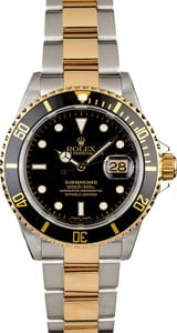 Certified Rolex Submariner 16613 Gold Thru Clasp