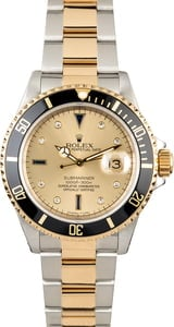 Rolex Submariner 16613 Champagne Serti Dial with Black Insert