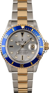 Rolex Submariner 16613 Slate Dial with Diamonds and Sapphires
