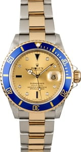 Used Rolex Submariner 16613 Champagne Serti Dial