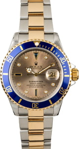 Rolex Submariner 16613 Serti Dial with Gold-Thru Clasp