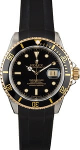 Rolex Submariner 16613 Black Rubber Strap