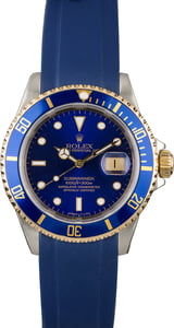 Rolex Two Tone Submariner 16613 Blue Rubber Strap