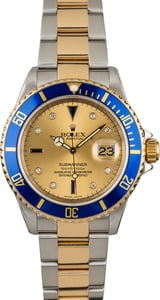 Men's Rolex Submariner 16613 Champagne Serti Dial