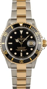 Mens Rolex Submariner 16613 Black and Gold Bezel