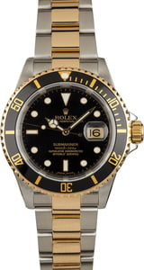 Used Rolex Submariner 16613 Two Tone Oyster with Black Dial